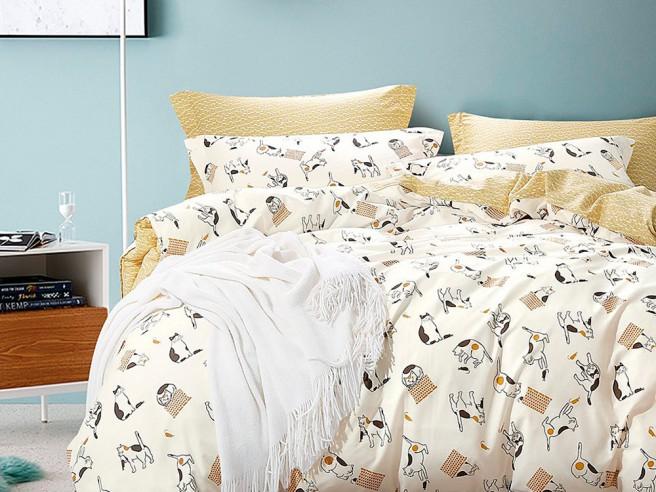 Комплект постельного белья 1,5-спальный, печатный сатин 1010-4S