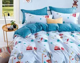 Комплект постельного белья 1,5-спальный, печатный сатин 1025-4S