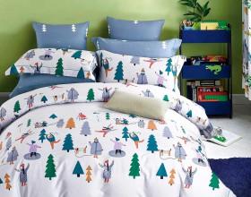 Комплект постельного белья 1,5-спальный, печатный сатин 1202-4S