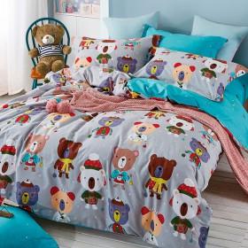 Комплект постельного белья 1,5-спальный, печатный сатин 1292-4S