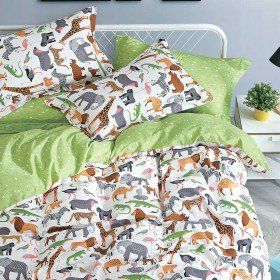 Комплект постельного белья 1,5-спальный, печатный сатин 1329-4XS