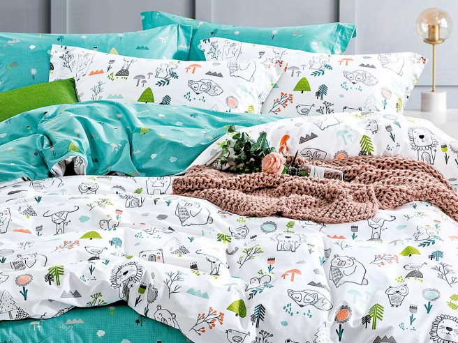 Комплект постельного белья 1,5-спальный, печатный сатин 1334-4S