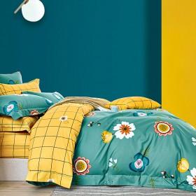 Комплект постельного белья 1,5-спальный, печатный сатин 1468-4S