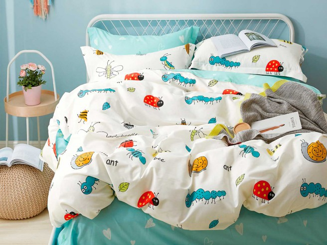 Комплект постельного белья 1,5-спальный, печатный сатин 1225-4XS