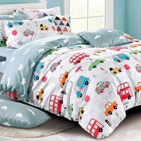 Комплект постельного белья 1,5-спальный, печатный сатин 1357-4XS