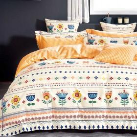 Комплект постельного белья 1,5-спальный, печатный сатин 1473-4S